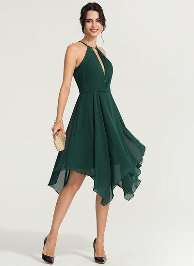Vestidos Princesa/ Formato A Decote redondo Assimétrico Tecido de seda Vestido de cocktail com Beading