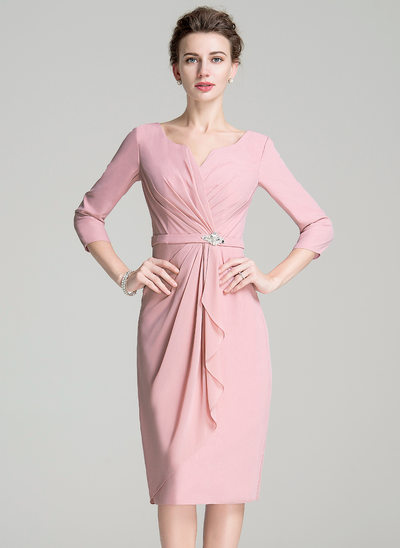 Sheath/Column Scoop Neck Knee-Length Chiffon Mother of the Bride Dress With Ruffle Crystal Brooch