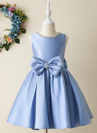 Corte De Baile/Princesa Hasta la rodilla Vestidos de Niña Florista - Satén Sin mangas Escote redondo con Lazo(s)/Rhinestone