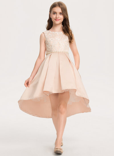 A-Line Scoop Neck Asymmetrical Satin Lace Junior Bridesmaid Dress With Beading Pockets