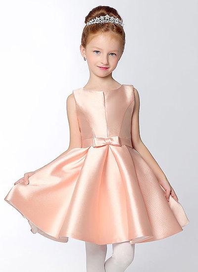 A-Line/Princess Short/Mini Flower Girl Dress - Satin Sleeveless V-neck With Bow(s)