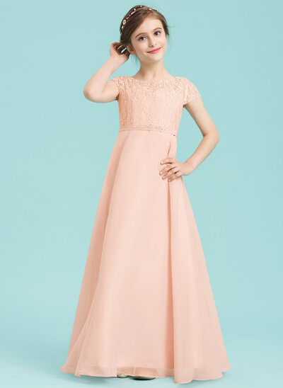 A-Line/Princess Scoop Neck Floor-Length Chiffon Junior Bridesmaid Dress With Beading