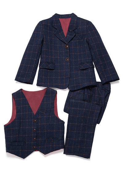Boys 3 Pieces Plaid Ring Bearer Suits /Page Boy Suits With Jacket Vest Pants