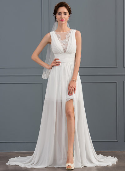 A-Line/Princess Scoop Neck Sweep Train Chiffon Wedding Dress With Ruffle Lace Split Front