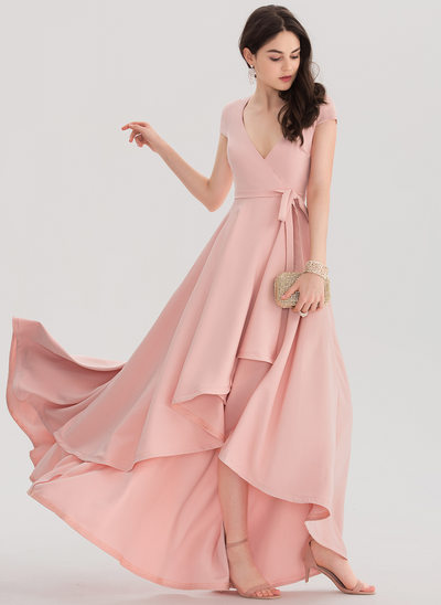 A-Line/Princess V-neck Asymmetrical Stretch Crepe Prom Dresses