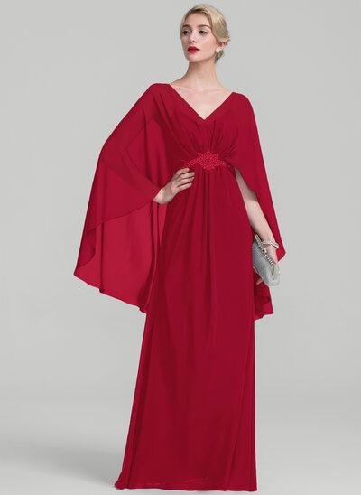 A-Linie V-Ausschnitt Bodenlang Chiffon Kleid für die Brautmutter mit Rüschen Perlstickerei