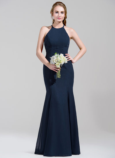 Trumpet/Mermaid Scoop Neck Floor-Length Chiffon Bridesmaid Dress With Ruffle Bow(s)