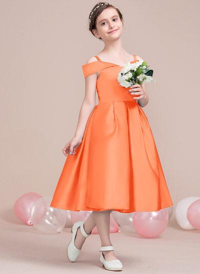 Vestidos princesa/ Formato A Off-the-ombro Comprimento médio Cetim Vestido de daminha júnior