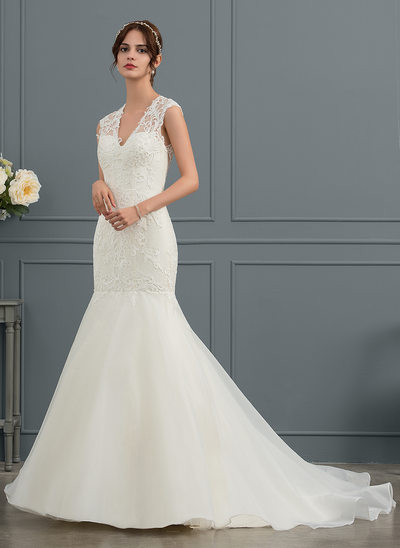 Trumpet/Mermaid V-neck Court Train Organza Wedding Dress