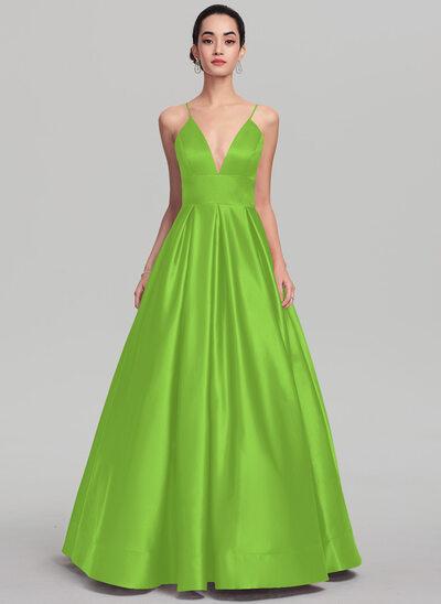 Ball-Gown V-neck Floor-Length Satin Prom Dresses