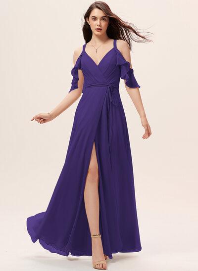 Трапеция V-образный Длина до пола шифон Платье Подружки Невесты с Рябь Разрез спереди