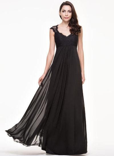 Çan/Prenses V yaka Uzun Etekli Şifon Dantel Nedime Elbisesi