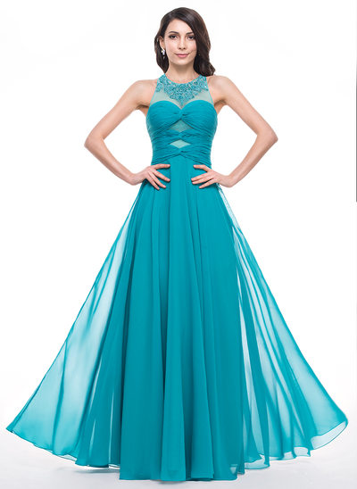 Vestidos princesa/ Formato A Decote redondo Longos Tecido de seda Vestido de baile com Pregueado Beading Apliques de Renda lantejoulas