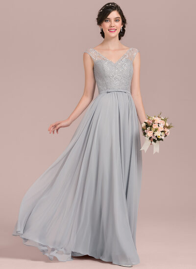 A-Linie/Princess-Linie V-Ausschnitt Bodenlang Chiffon Lace Brautjungfernkleid mit Schleife(n)