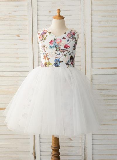 A-Line Knee-length Flower Girl Dress - Satin/Tulle Sleeveless Scoop Neck