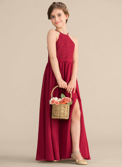 A-linjainen/Prinsessa Pyöreä kaula-aukko Lattiaa hipova pituus Sifonki Pitsi Nuorten morsiusneito mekko jossa Halkio edessä