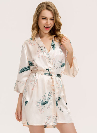 Non-personalized Charmeuse Bride Bridesmaid Mom Junior Bridesmaid Floral Robes