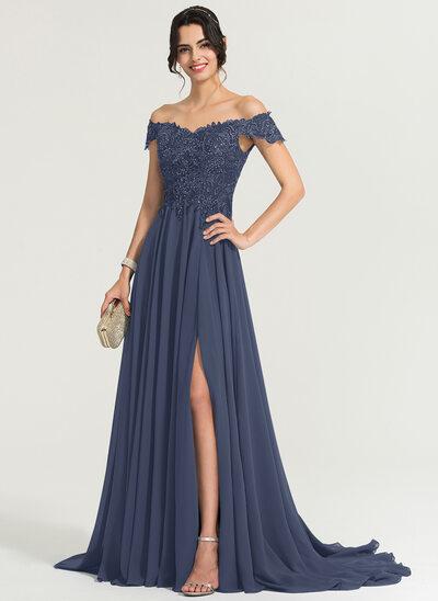 Corte A Off-the-ombro Sweep/Brush trem Tecido de seda Vestido de baile com lantejoulas Frente aberta