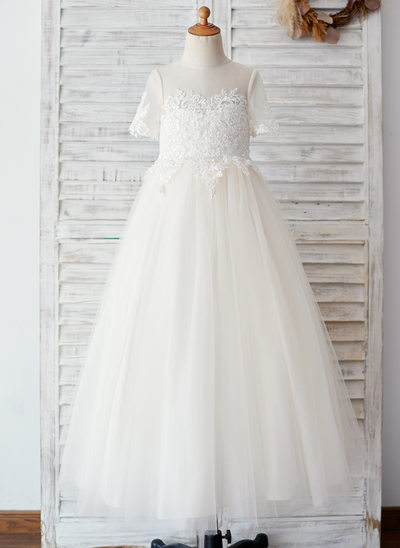 Ball-Gown/Princess Floor-length Flower Girl Dress - Tulle Short Sleeves Scoop Neck