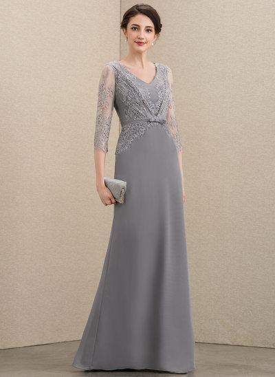 A-Linie V-Ausschnitt Bodenlang Chiffon Spitze Kleid für die Brautmutter mit Schleife(n)