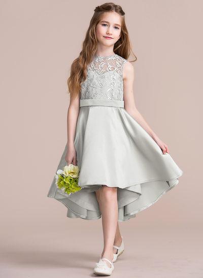 Corte A/Princesa Escote redondo Asimétrico Satén Vestido de Damita de honor