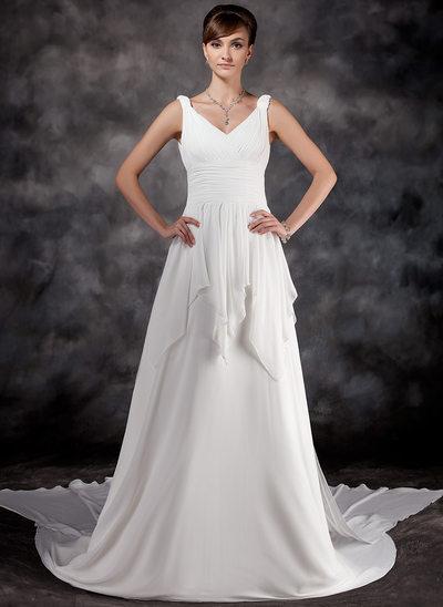 A-linjeformat V-ringning Watteau släp Chiffong Bröllopsklänning med Rufsar