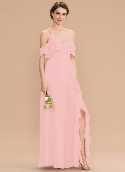 Corte A Decote V Longos Tecido de seda Vestido de madrinha com Curvado Frente aberta Babados em cascata