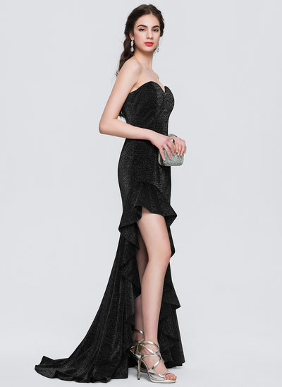 A-Line/Princess Strapless Sweetheart Asymmetrical Jersey Prom Dress With Cascading Ruffles