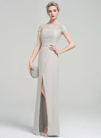Sheath/Column Scoop Neck Floor-Length Chiffon Evening Dress With Beading Sequins Split Front