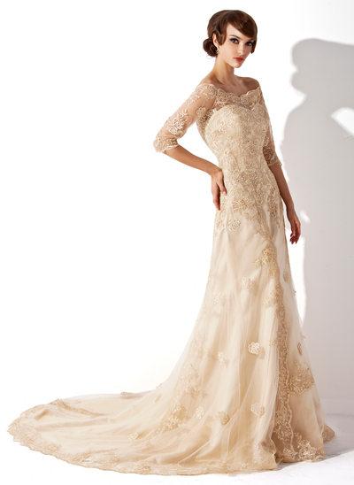 A-linjeformat Off-shoulder Chapel släp Tyll Spets Bröllopsklänning