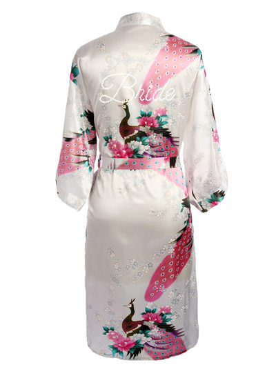 Personalized Charmeuse Bride Bridesmaid Mom Floral Robes Glitter Print Robes