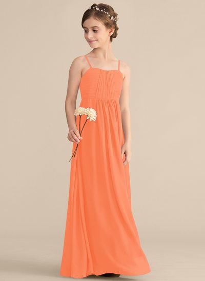 Vestidos princesa/ Formato A Amada Longos Tecido de seda Vestido de daminha júnior com Pregueado
