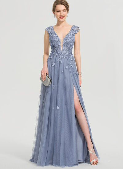 A-Line V-neck Floor-Length Tulle Prom Dresses With Sequins Split Front