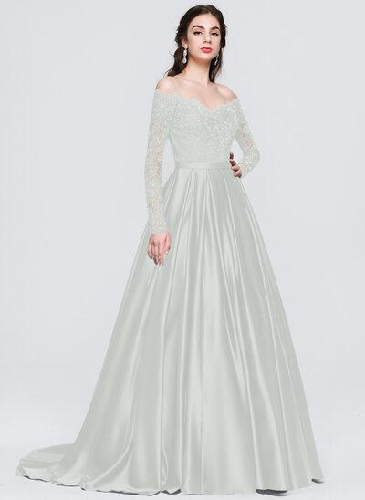 Платье для Балла/Принцесса Выкл-в-плечо Sweep/Щетка поезд Атлас Платье Для Выпускного Вечера с развальцовка