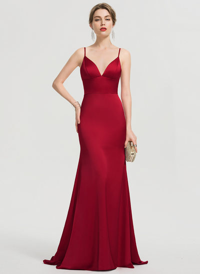 Trumpet/Mermaid V-neck Sweep Train Satin Evening Dress