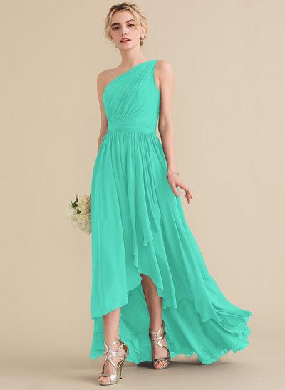A-Line/Princess One-Shoulder Asymmetrical Chiffon Bridesmaid Dress With Cascading Ruffles