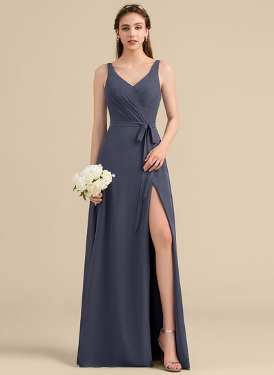 24fc42ea81f9 A-Line/Princess V-neck Floor-Length Chiffon Bridesmaid Dress With Ruffle