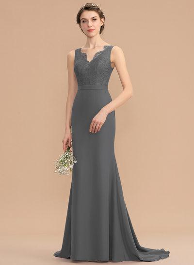 Trumpet/Mermaid V-neck Sweep Train Chiffon Lace Bridesmaid Dress