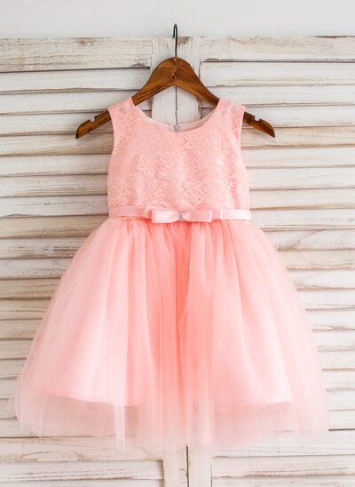 Plesové Po kolena Flower Girl Dress - Tyl/Krajka Bez rukávů Scoop Neck S Luk