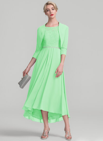 A-Line/Princess Scoop Neck Asymmetrical Chiffon Lace Mother of the Bride Dress With Beading