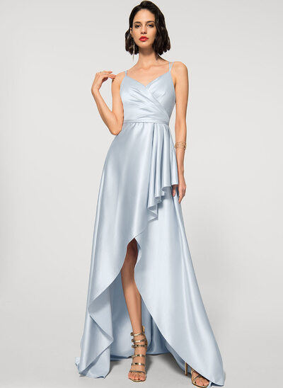 Трапеция V-образный асимметричный Атлас Вечерние Платье