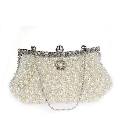 Elegant Satin/Pearl Clutches/Wristlets/Bridal Purse/Evening Bags
