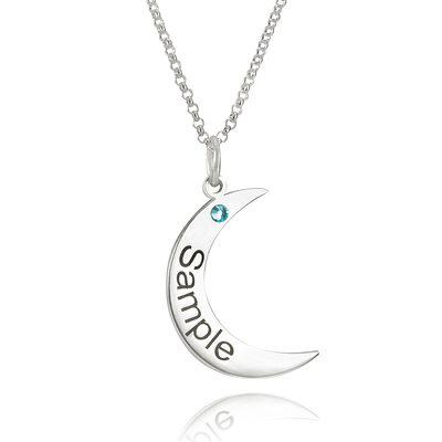 Personalized Sterling Silver Måne Gravyr / inristad Birthstone Halsband Graverat Halsband med Cylinder Zirkonium - Födelsedagspresenter Mors Dag Presenter