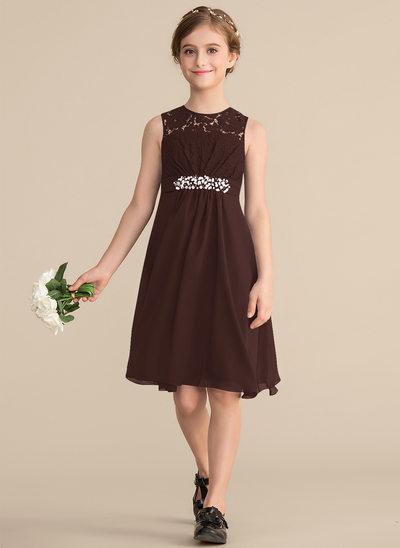 Vestidos princesa/ Formato A Decote redondo Coquetel Tecido de seda Renda Vestido de daminha júnior com Beading lantejoulas Curvado