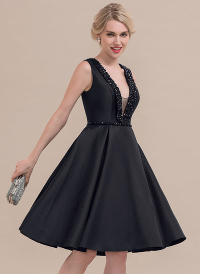 A-Line V-neck Knee-Length Satin Cocktail Dress With Beading