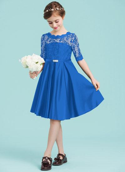 Vestidos princesa/ Formato A Decote redondo Coquetel Cetim Vestido de daminha júnior com Beading