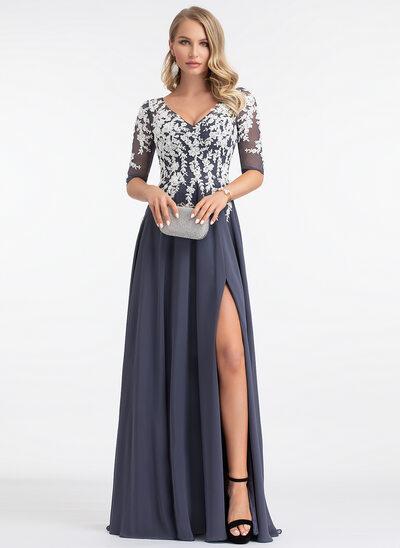 Corte A Decote V Longos Tecido de seda Vestido de festa com Frente aberta