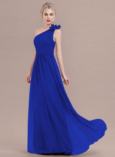 Çan/Prenses Bir omuz Uzun Etekli Şifon Mezuniyet Elbisesi Ile Büzgü Çiçek(ler)