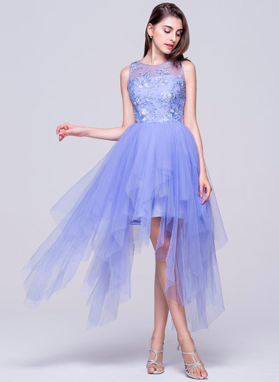 A-Line/Princess Scoop Neck Asymmetrical Tulle Homecoming Dress With Appliques Lace