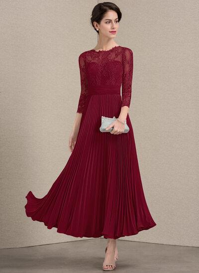A-Linie U-Ausschnitt Knöchellang Chiffon Spitze Kleid für die Brautmutter mit Gefaltet